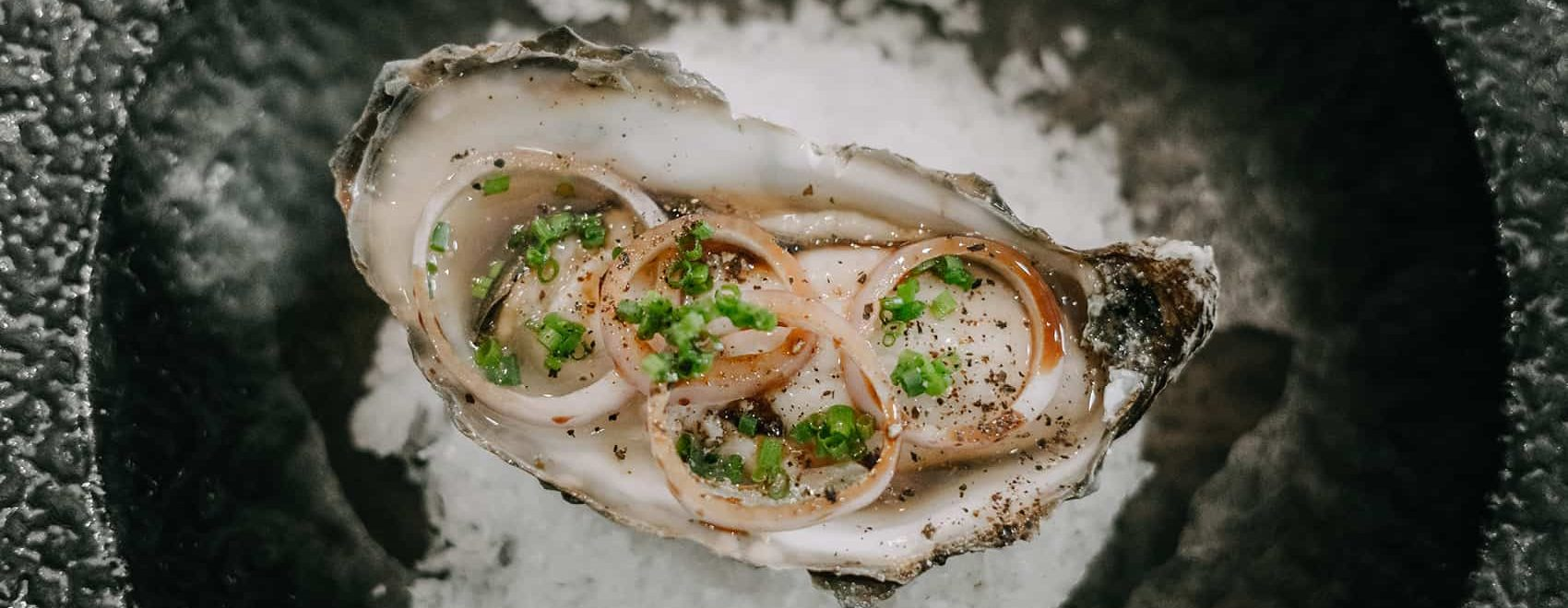 Loch fyne Oyster(sweet, plump & juicy)-shallot, chive & black pepper- aged sherry wine vinegar